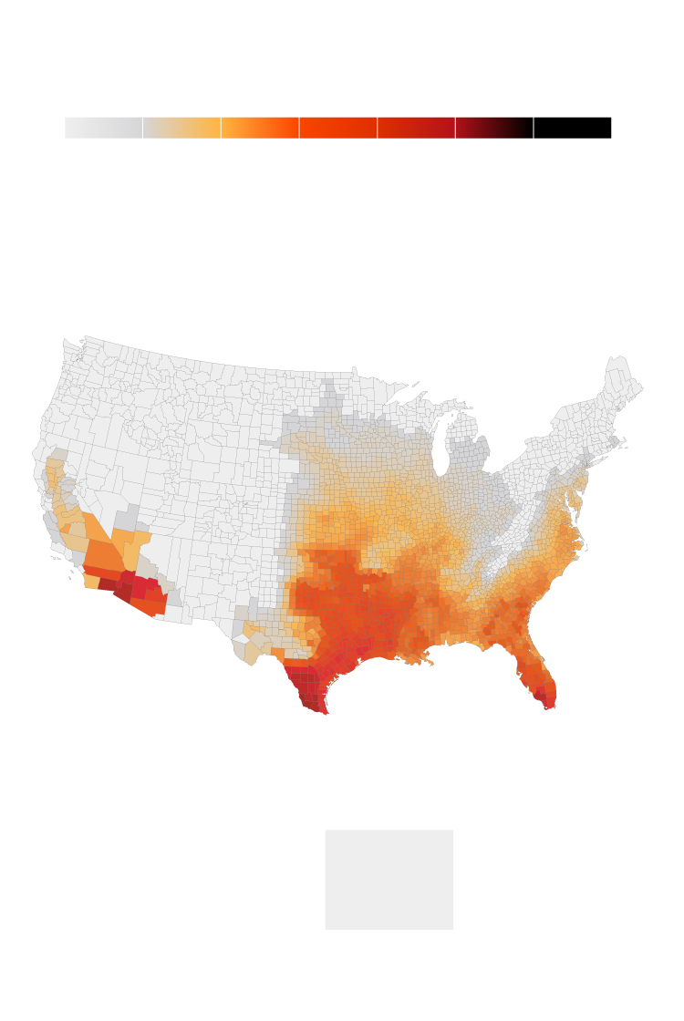 Interactive Days Over 100 F To Become More Common Across Us